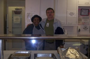 Pat Thompson, Site Manager at Blue Street, & Ken Dye, Elderly Nutrition Department
