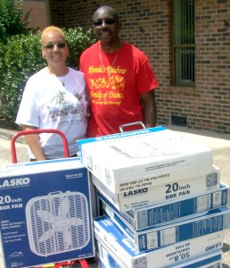 Rhonda & Claude Bright delivered a total of 65 fans donated by her dance studio, Rhonda's Rainbow Studio of Dance, and Fayetteville Business and Professional Women's Organization.