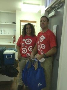 Target volunteers getting ready to head out on a route.