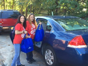 Target volunteers load up their cars on their way to deliver meals.